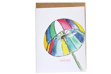 Vacay Mode Greeting Card, Fun Greeting Card, Vacation Greeting Cards, Beach Card, Beach Please Card, Umbrella Greeting Card, Colorful Beach Umbrella Greeting Card, Rainbow Umbrella, Beach Umbrella, Stationery Lovers, Happy Vacation Card, Island Greeting Card, Blank Note Card, Watercolor Art, Hand Painted Card, LGBQT Cards, Rainbow Greeting Cards, Colorful Greeting Card