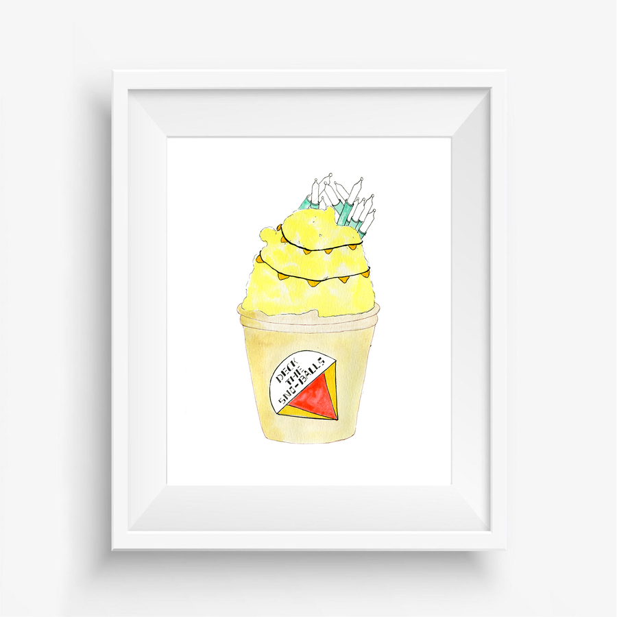 Yellow Snowball Holiday Art Print, Holiday Art Print, Watercolor Art Print, Handpainted holiday art, wall decor, playful wall decor