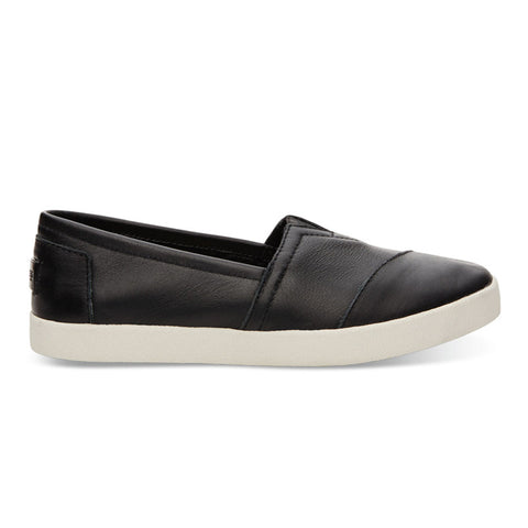 TOMS Black Leather Women's Avalon Slip-Ons