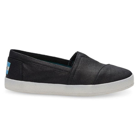 TOMS Black Coated Canvas Women's Avalon Slip-Ons