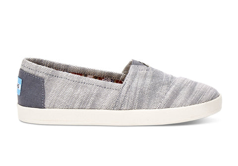 TOMS Grey Textured Woven Women's Avalon Slip-Ons