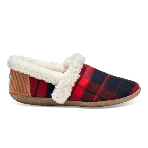 TOMS Red & Black Plaid Women's House Slippers