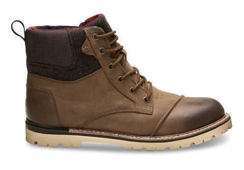 TOMS Waterproof Brown Burnished Leather Wool Men's Ashland Boots