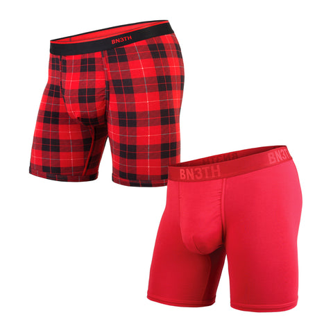 BN3TH Classics Boxer Brief Men's Underwear 2-Pack Crimson/Fireside Plaid Red