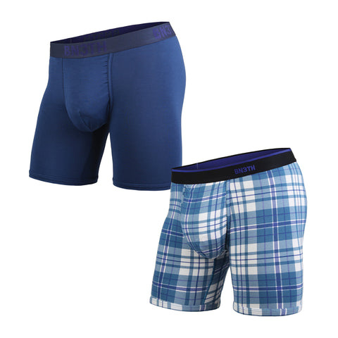 BN3TH Classics Boxer Brief Men's Underwear 2-Pack Navy/No Plaid Days Blue