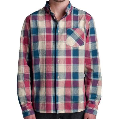 Lifetime Collective Lucky Man Plaid Men's LS Shirt - Red Blue Plaid / M - Koala Logic - 1