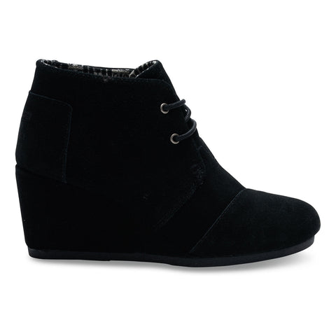 TOMS Black Suede Women's Desert Wedges