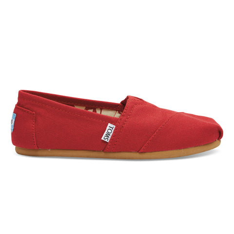 TOMS Red Canvas Women's Classics Shoes