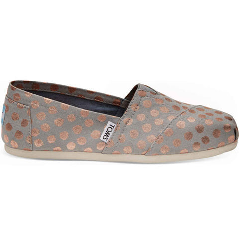 TOMS Drizzle Grey With Rose Gold Foil Podka Dot Women's Classics Shoes