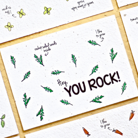 Cartolina piantabile con busta - You rock - semi di rucola