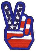 American Flag Peace Fingers Patch