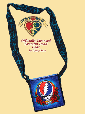 Good Ol' Grateful Dead Steal Your Face Roses Hand Embroidered Messenger Bag