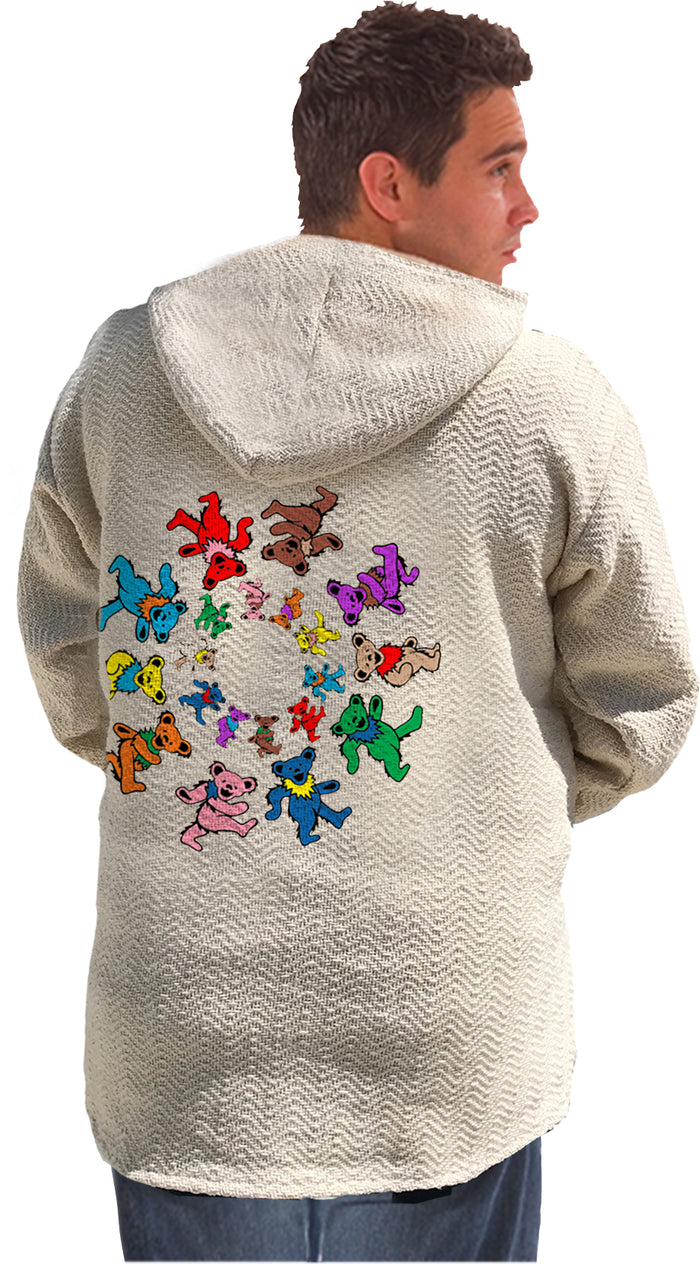 Grateful Dead Spiral Dancing Bears Natural Baja Pullover