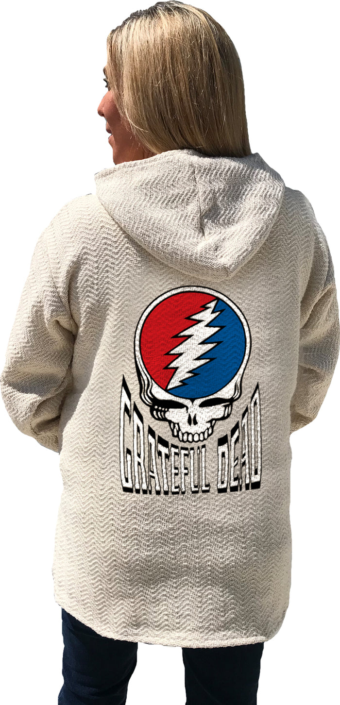 Grateful Dead Steal Your Face Natural Baja Pullover