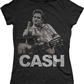 Johnny Cash Flippin' the Bird Ladies T-Shirt