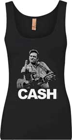 Johnny Cash Flippin' the Bird Ladies Tank Top