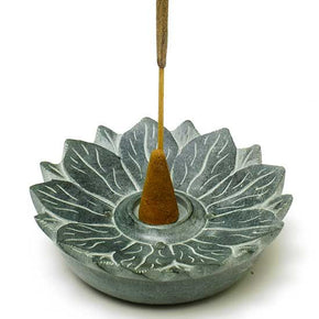 Lotus Blossom Soapstone Incense Burner