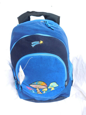 Super Daypack in Heavyweight Cotton Denim with Mushroom Embroidery Backpack