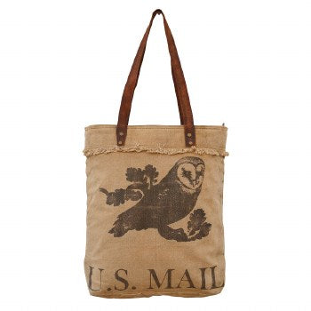 US Mail Owl Print Tote Bag By Clea Ray