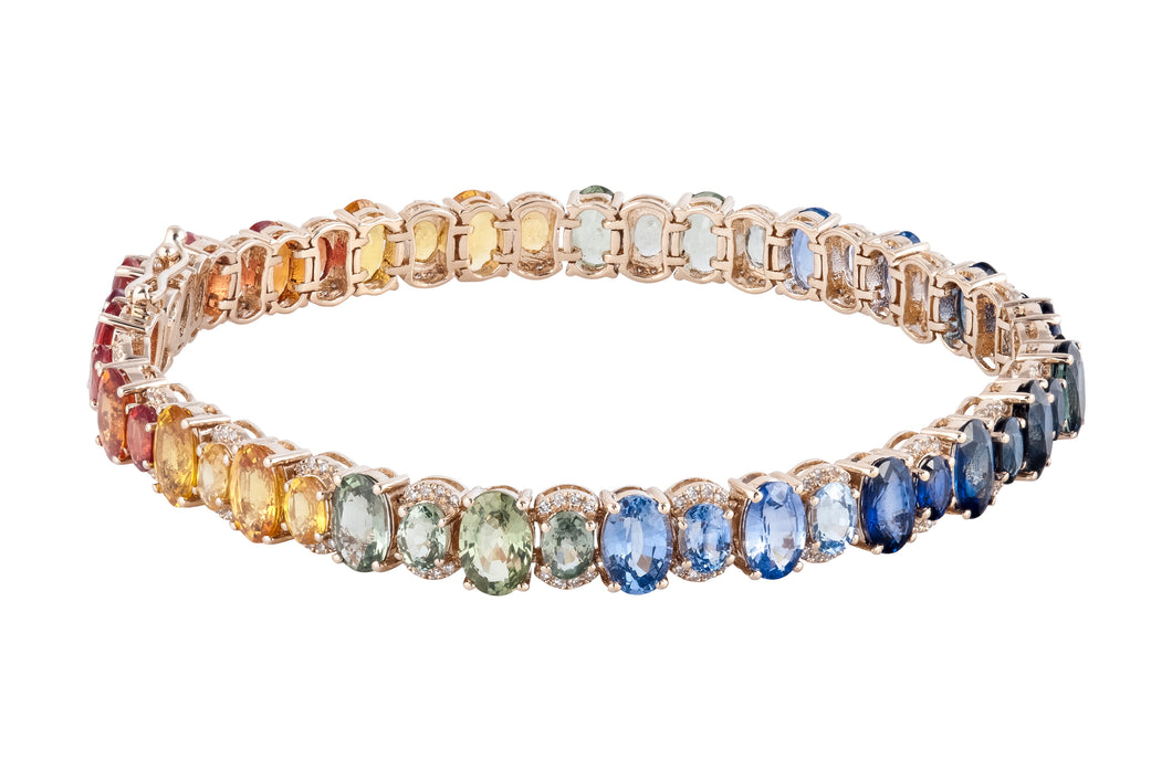 Goldstein Collection Rainbow Sapphire Tennis Bracelet