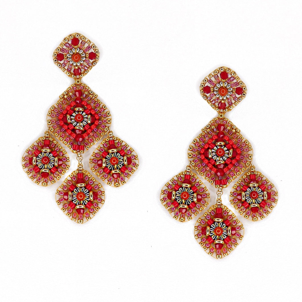 Miguel Ases Red Coral Swarovski Earrings