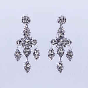 Miguel Ases Silver Beaded Statement Earrings
