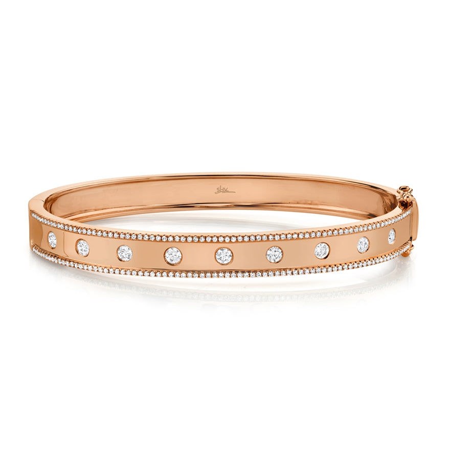 Goldstein Collection Burnished Diamonds Hinged Bangle