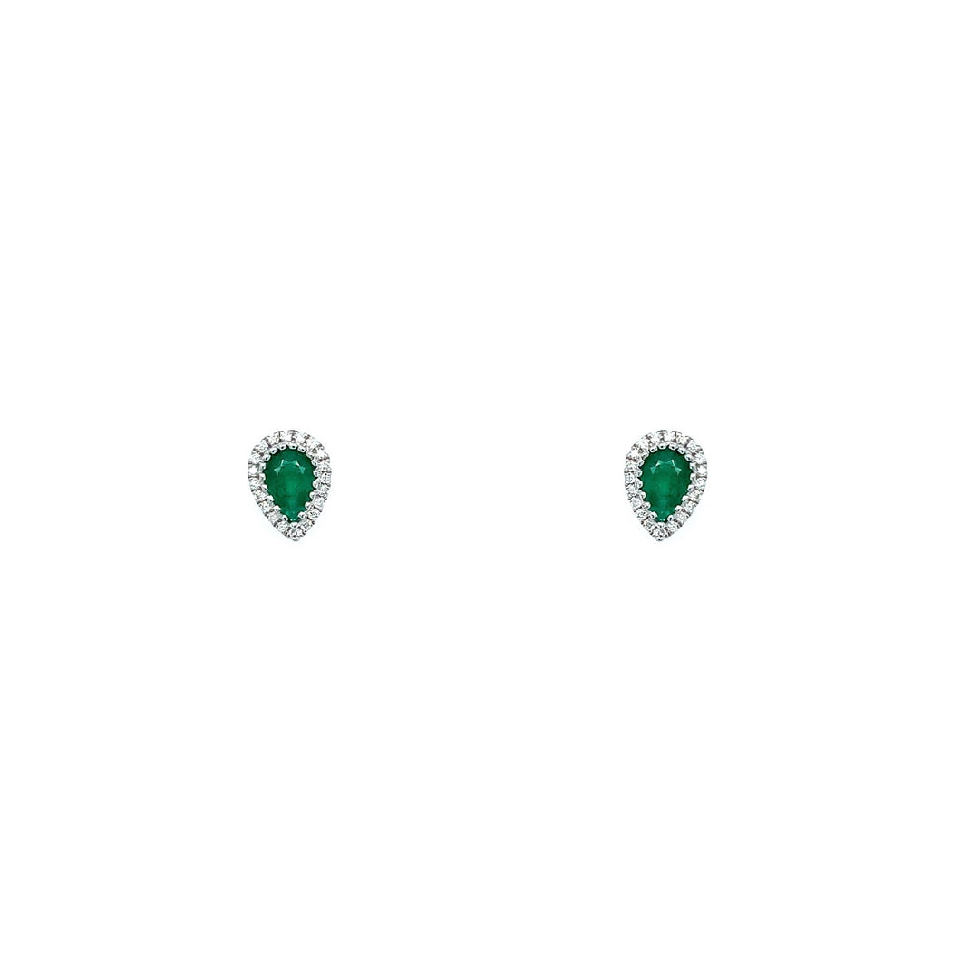 Petite Collection Emerald Pear-Shape Halo Studs