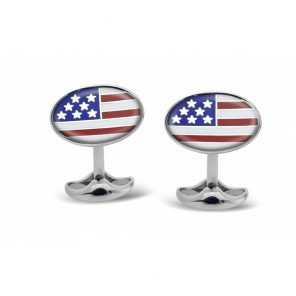 Deakin & Francis Sterling Silver and Enamel Flag Cufflinks
