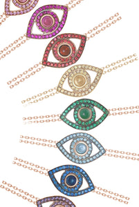 From Top: Pink Sapphire, Ruby, Red Sapphire, Yellow Sapphire, Emerald, Blue Topaz, Blue Sapphire, Amethyst