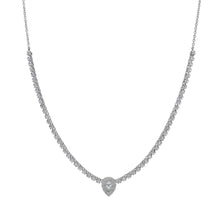 Load image into Gallery viewer, Goldstein Collection Tennis Necklace with Pear Center