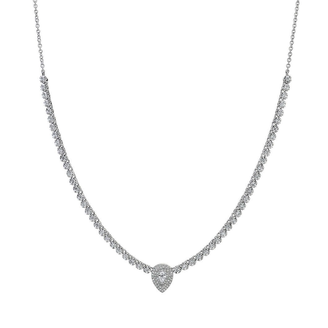 Goldstein Collection Tennis Necklace with Pear Center