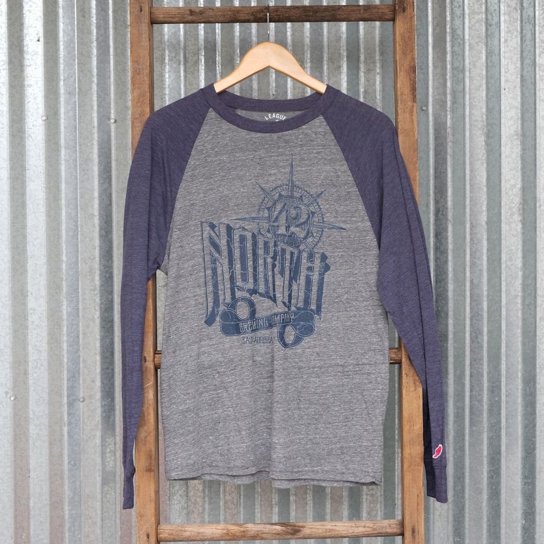 Long Sleeve Baseball Compass T - Grey/Navy Sleeves