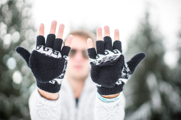 Peruvian Alpaca Gloves Black