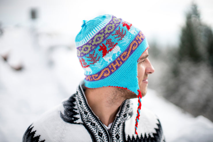 Peruvian Alpaca Toque Blue Red Reversible