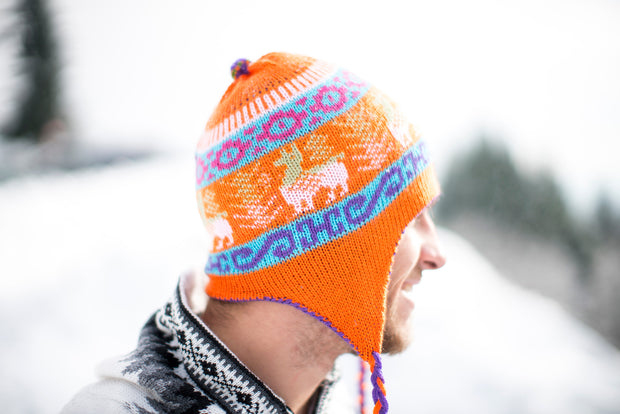 Peruvian Alpaca Toque Purple Orange Reversible