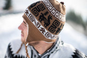 Peruvian Alpaca Toque Brown White Reversible