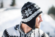 Peruvian Alpaca Toque Black White Reversible