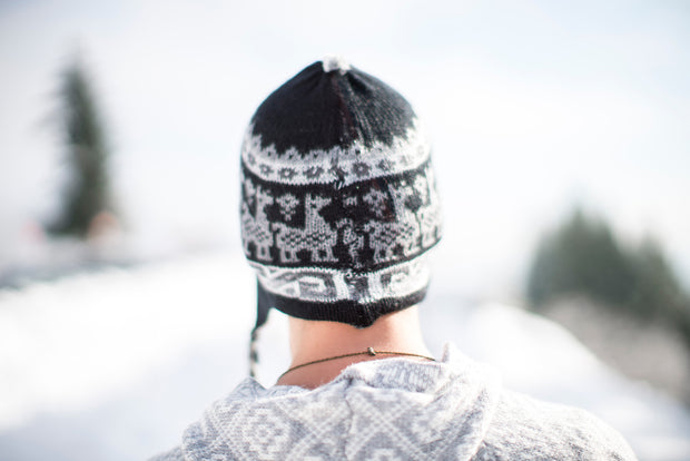 Peruvian Alpaca Toque Grey Black Reversible