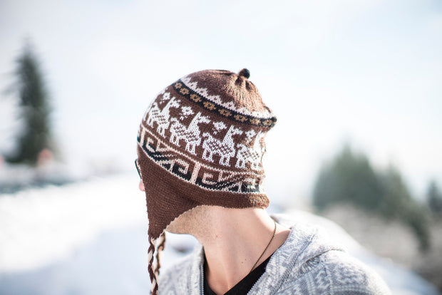 Peruvian Alpaca Toque Brown Beige Reversible