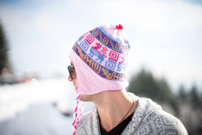 Peruvian Alpaca Toque Pink on Pink Reversible