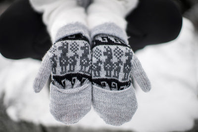 Peruvian Alpaca Gloves Light Grey