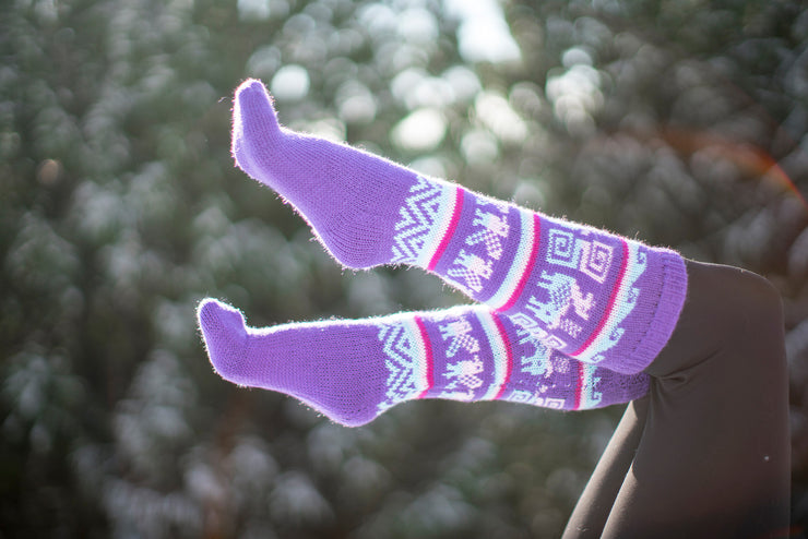 Peruvian Alpaca Socks Purple