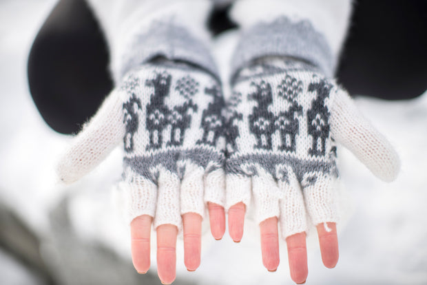 Peruvian Alpaca Gloves White