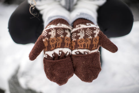 Peruvian Alpaca Gloves Brown