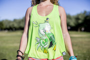 High On Life Tank Top Green Girls Loose Fit Flamingo