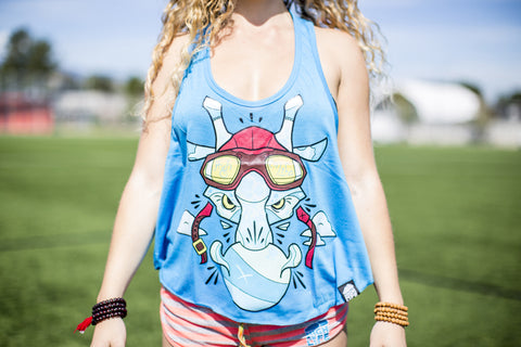 High On Life Tank Top Blue Girls Loose Fit Giraffe