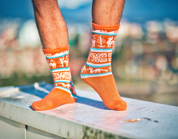 Peruvian Alpaca Socks Orange