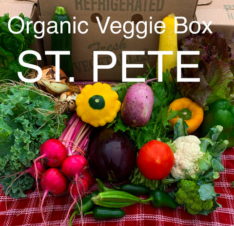 ORGANIC VEGGIE BOX - SAINT PETERSBURG - Saturdays, March 6 - 27, 2021, 9:00 AM - 12 NOON - Downtown Saint Petersburg: 4 weeks x $25/week = $100.