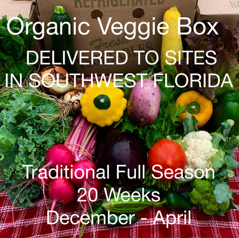 ORGANIC VEGGIE BOX - Full Season, December 2020 - April 2021 -- 20 weeks x $25/week = $500.